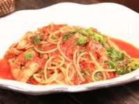 栃木県産「夢ポーク」のバラ肉を使ったトマトソーススパゲッティ