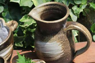 オリジナル焼酎カップ 大きい 益子焼き 陶器 渋い アイスペール ピッチャー 水差し 氷入れ